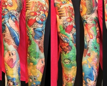 47 hours – COMPLETE – Gamer Full Sleeve Ft. Sonic, Megaman X, Zero, DK, Kirby – By Mike McMahon Empyrean Tattoo GA