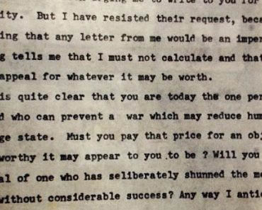 Gandhi's letter to Hitler, a month earlier than he invaded Poland and began WW2