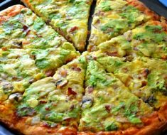 Homemade Breakfast Pizza with Fresh Avocado Spread