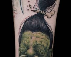 Shrunken Head by Scott Harrison during his guest spot at Hidden Moon Tattoo, Melbourne, Australia.