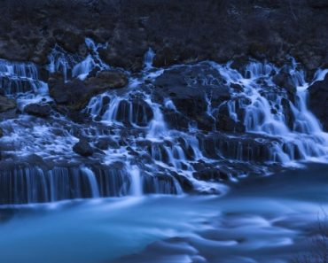 Hraunfossar waterfall at twilight