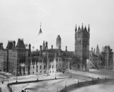 The Parliament Buildings of Canada the day after the fire