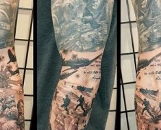 War Sleeve by Jason Pedersen of Broken Clover Tattoo in Tucson, AZ.