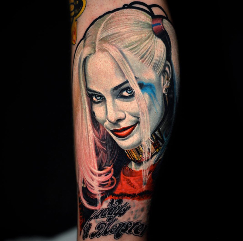 Harley-Quinn-Suicide-Squad-realistic-portrait-tattoo
